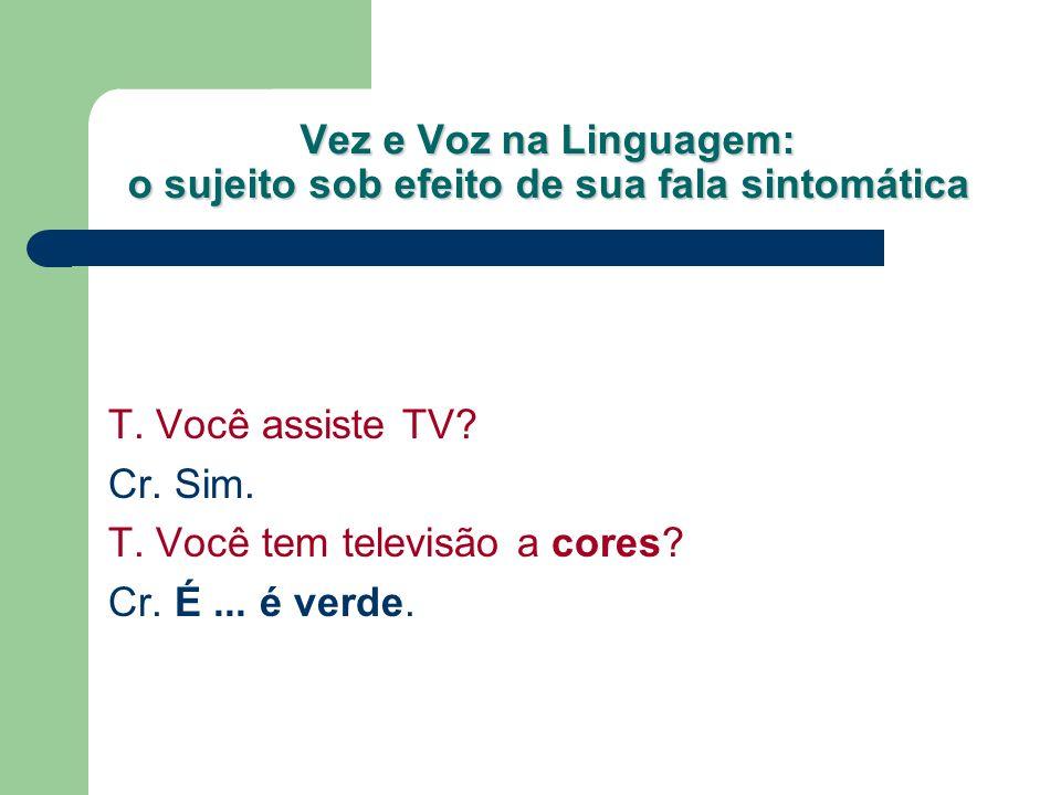 Vez e Voz na Linguagem: o sujeito sob efeito de sua fala sintomática T. Você assiste TV? Cr. Sim. T. Você tem televisão a cores? Cr. É... é verde.