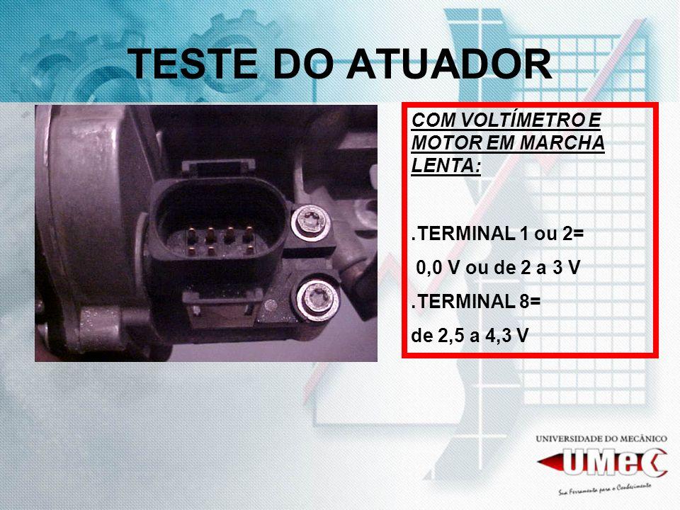 TESTE DO ATUADOR COM VOLTÍMETRO E MOTOR EM MARCHA LENTA:.TERMINAL 1 ou 2= 0,0 V ou de 2 a 3 V.TERMINAL 8= de 2,5 a 4,3 V