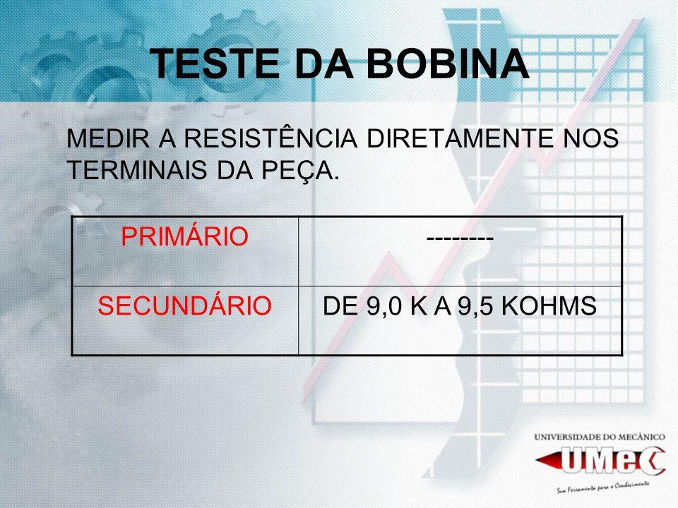 TESTE DA BOBINA MEDIR A RESISTÊNCIA DIRETAMENTE NOS TERMINAIS DA PEÇA. PRIMÁRIO-------- SECUNDÁRIODE 9,0 K A 9,5 KOHMS