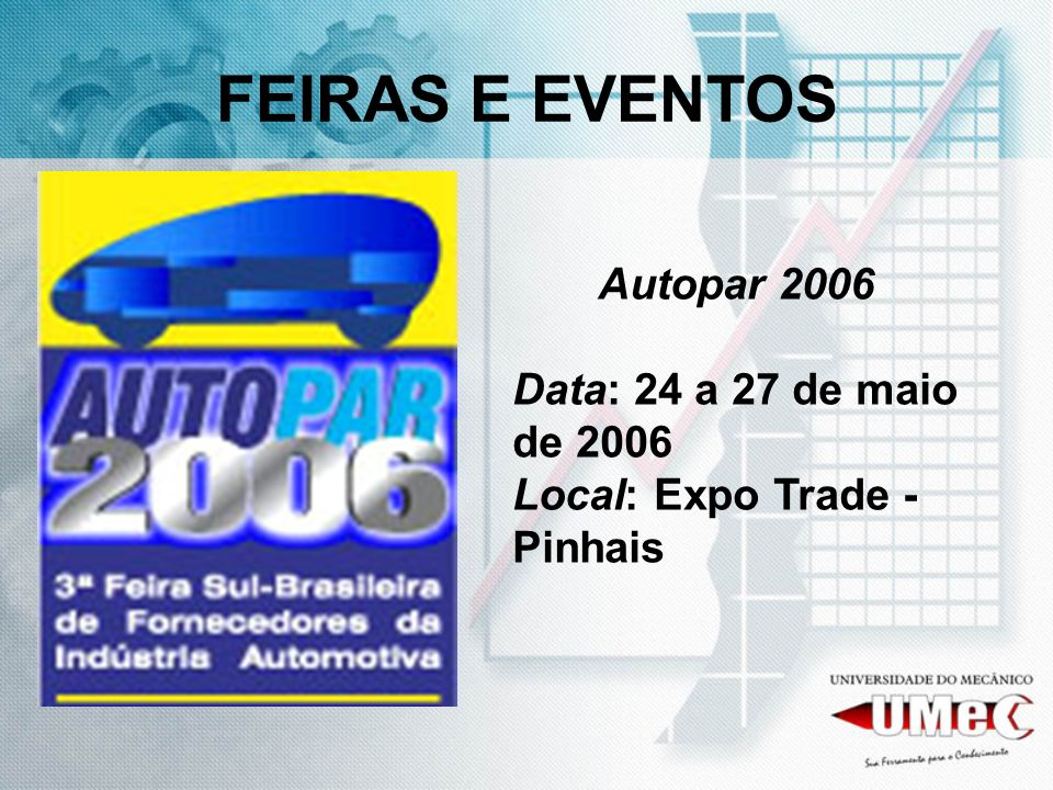Autopar 2006 Data: 24 a 27 de maio de 2006 Local: Expo Trade - Pinhais