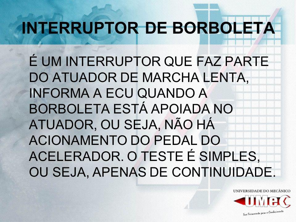 INTERRUPTOR DE BORBOLETA É UM INTERRUPTOR QUE FAZ PARTE DO ATUADOR DE MARCHA LENTA, INFORMA A ECU QUANDO A BORBOLETA ESTÁ APOIADA NO ATUADOR, OU SEJA,