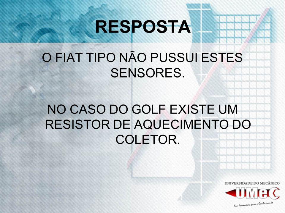 RESPOSTA O FIAT TIPO NÃO PUSSUI ESTES SENSORES. NO CASO DO GOLF EXISTE UM RESISTOR DE AQUECIMENTO DO COLETOR.