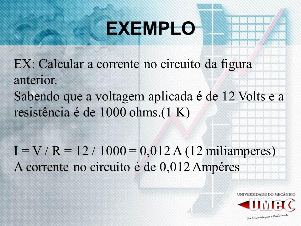 EXEMPLO EX: Calcular a corrente no circuito da figura anterior. Sabendo que a voltagem aplicada é de 12 Volts e a resistência é de 1000 ohms.(1 K) I =