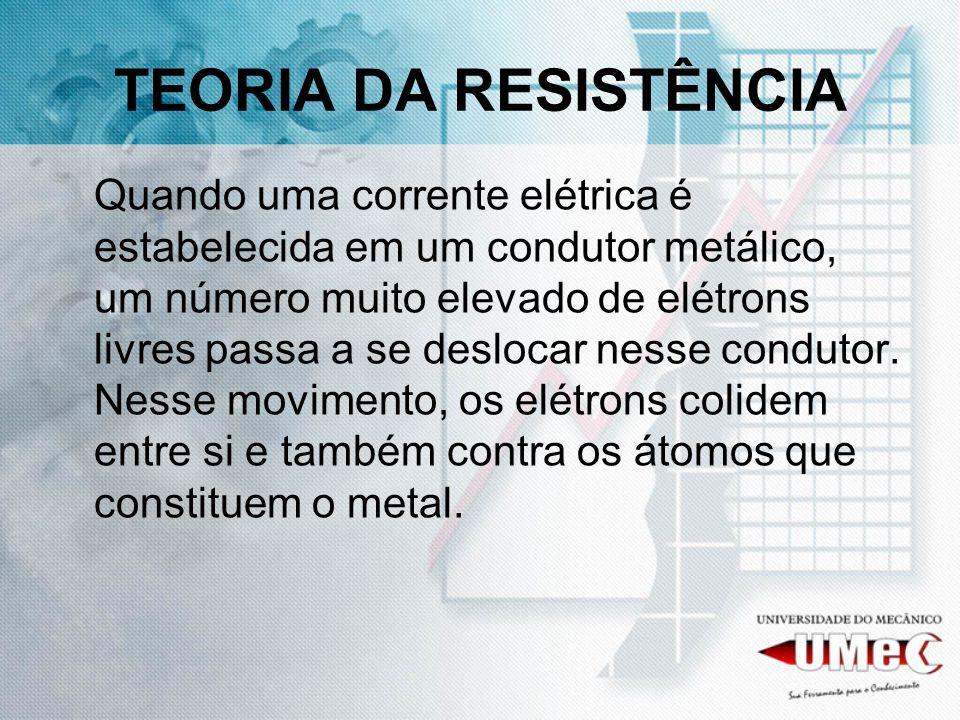 TEORIA DA RESISTÊNCIA Quando uma corrente elétrica é estabelecida em um condutor metálico, um número muito elevado de elétrons livres passa a se deslo