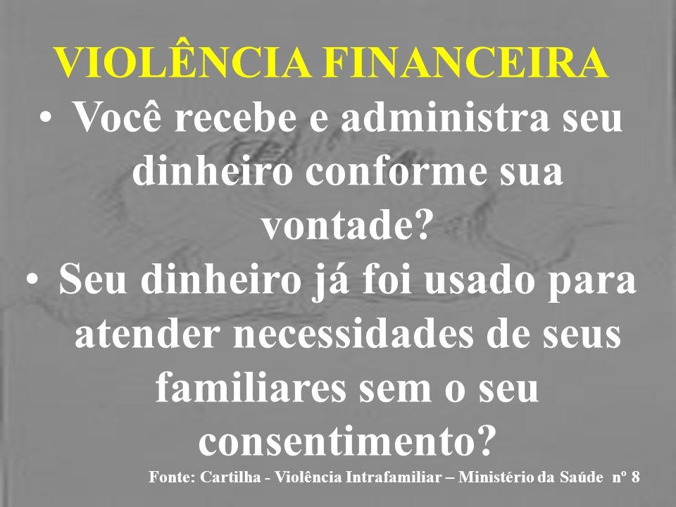VIOLÊNCIA FINANCEIRA Você recebe e administra seu dinheiro conforme sua vontade? Seu dinheiro já foi usado para atender necessidades de seus familiare
