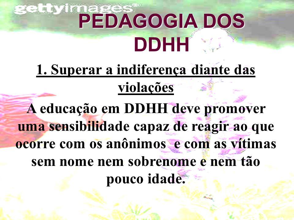 PEDAGOGIA DOS DDHH 1. Superar a indiferença diante das violações A educação em DDHH deve promover uma sensibilidade capaz de reagir ao que ocorre com