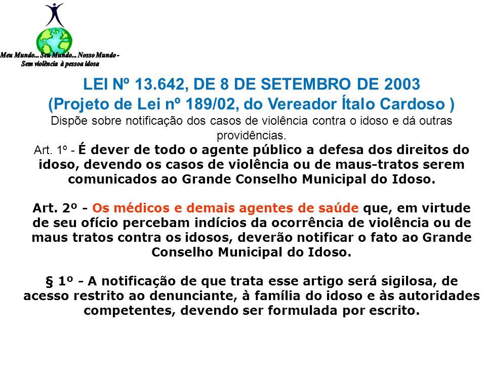 A LEI Nº 13.642, DE 8 DE SETEMBRO DE 2003 (Projeto de Lei nº 189/02, do Vereador Ítalo Cardoso ). Dispõe sobre notificação dos casos de violência cont