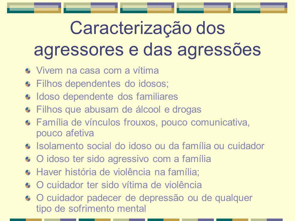 Caracterização dos agressores e das agressões Vivem na casa com a vítima Filhos dependentes do idosos; Idoso dependente dos familiares Filhos que abus