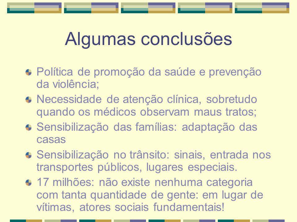 Algumas conclusões Política de promoção da saúde e prevenção da violência; Necessidade de atenção clínica, sobretudo quando os médicos observam maus t