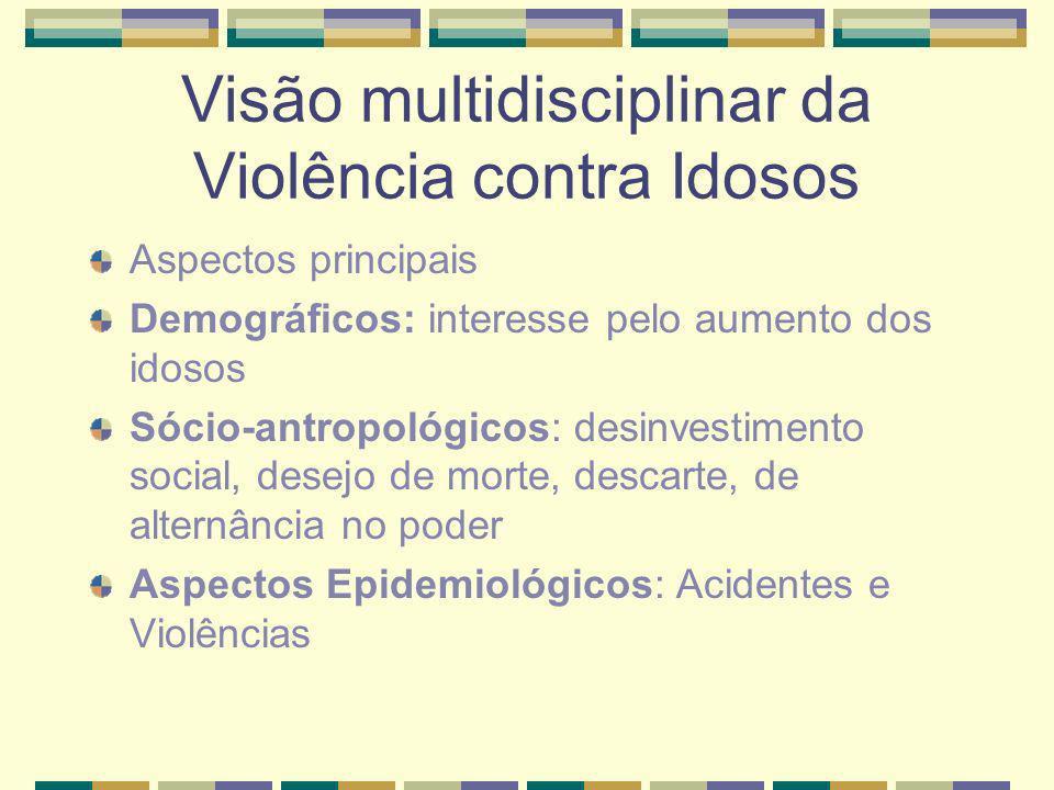 Visão multidisciplinar da Violência contra Idosos Aspectos principais Demográficos: interesse pelo aumento dos idosos Sócio-antropológicos: desinvesti
