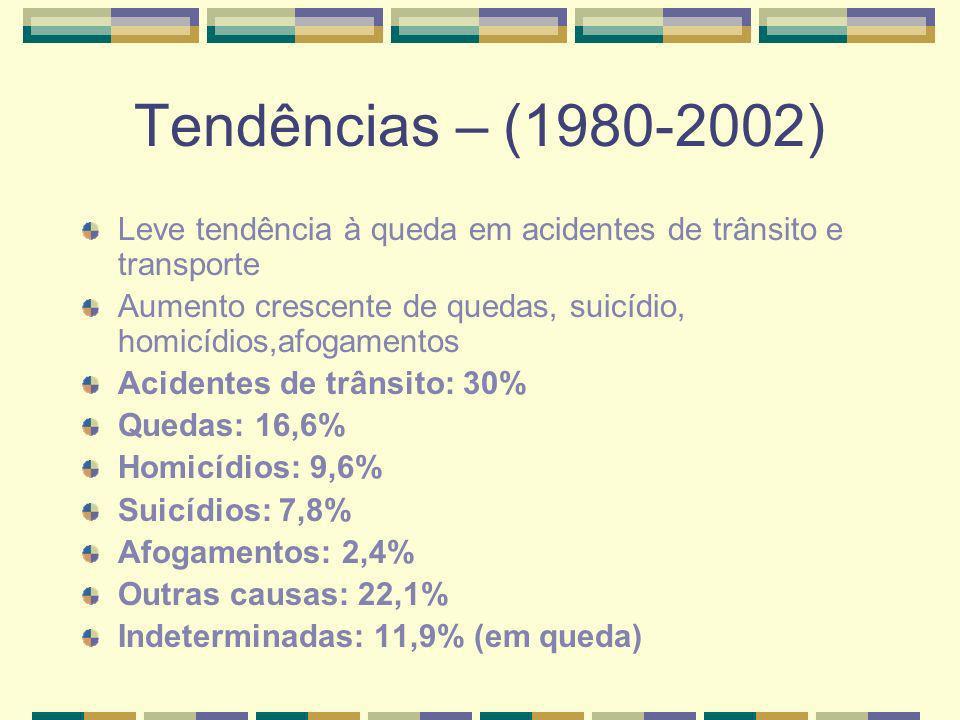 Mortalidade e tendências em algumas grandes cidades Rio de Janeiro: crescimento do número de quedas (30% do total): mulheres mais velhas que 70 anos São Paulo: crescimento dos homicídios: de 5,5% (1980) a 11,4% em 2002; de quedas: 30,9% em 2002.