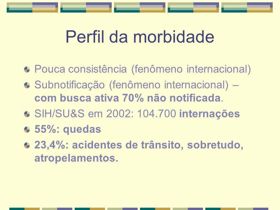 Perfil da morbidade Pouca consistência (fenômeno internacional) Subnotificação (fenômeno internacional) – com busca ativa 70% não notificada. SIH/SU&S