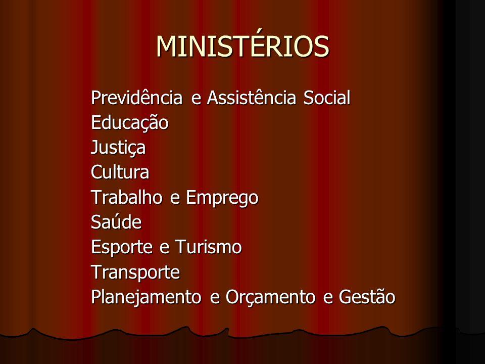 MINISTÉRIOS Previdência e Assistência Social EducaçãoJustiçaCultura Trabalho e Emprego Saúde Esporte e Turismo Transporte Planejamento e Orçamento e G