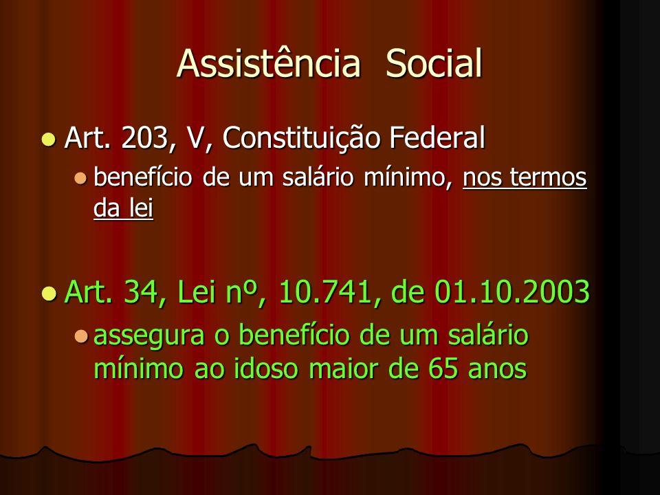 Assistência Social Art. 203, V, Constituição Federal Art. 203, V, Constituição Federal benefício de um salário mínimo, nos termos da lei benefício de