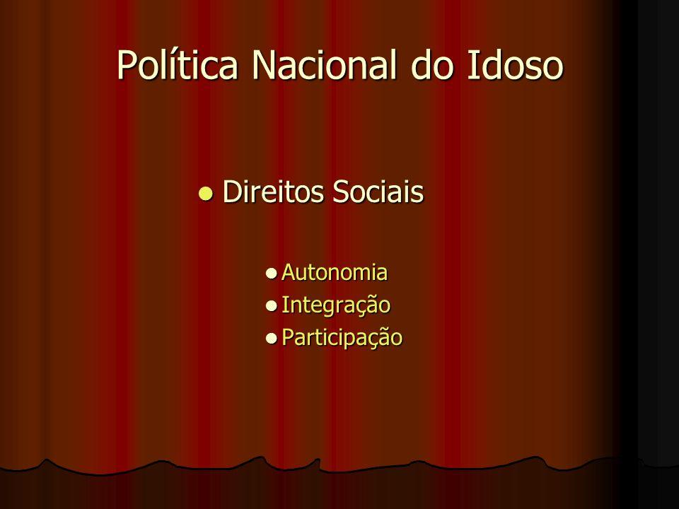 Política Nacional do Idoso Direitos Sociais Direitos Sociais Autonomia Autonomia Integração Integração Participação Participação