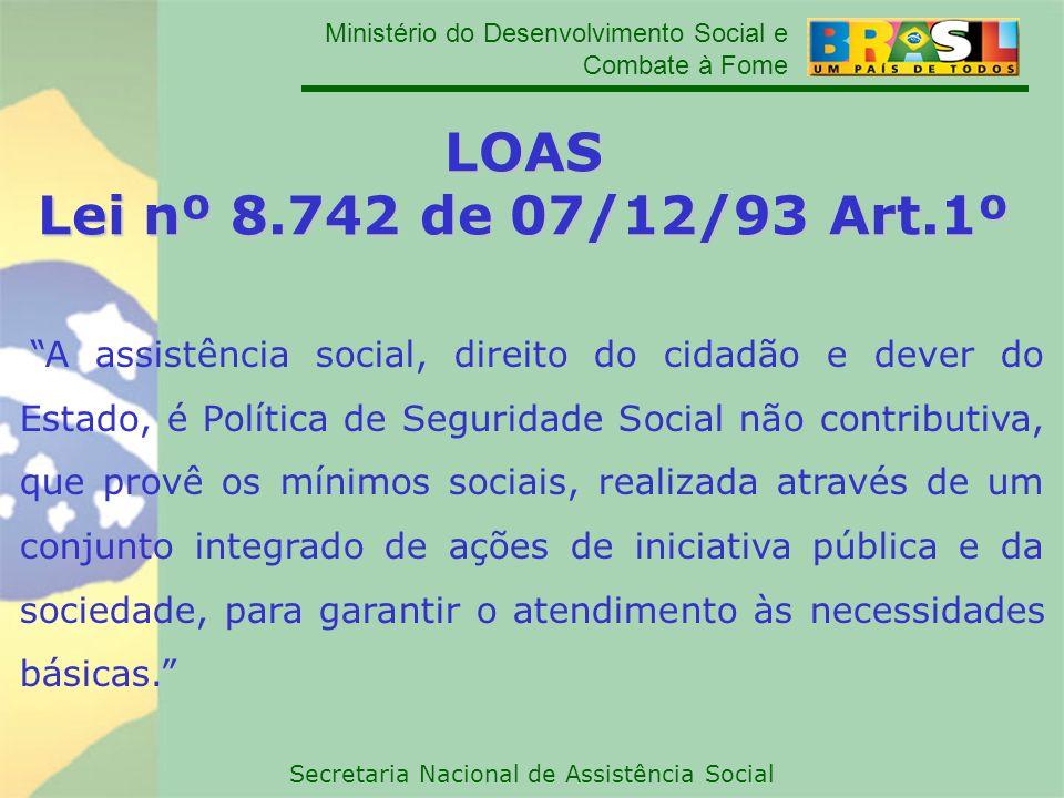 Ministério do Desenvolvimento Social e Combate à Fome Secretaria Nacional de Assistência Social LOAS Lei nº 8.742 de 07/12/93 Art.1º A assistência soc