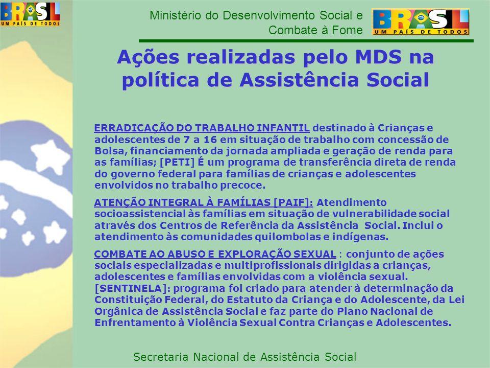 Ministério do Desenvolvimento Social e Combate à Fome Secretaria Nacional de Assistência Social ERRADICAÇÃO DO TRABALHO INFANTIL ERRADICAÇÃO DO TRABAL