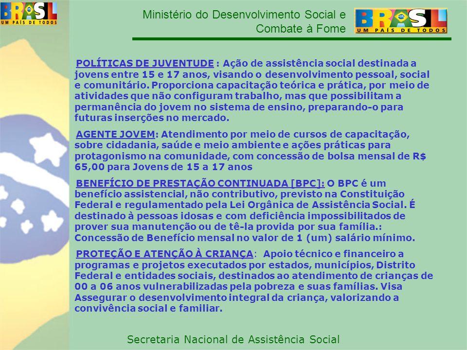 Ministério do Desenvolvimento Social e Combate à Fome Secretaria Nacional de Assistência Social POLÍTICAS DE JUVENTUDE POLÍTICAS DE JUVENTUDE : Ação d