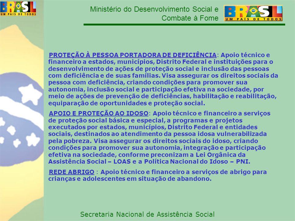 Ministério do Desenvolvimento Social e Combate à Fome Secretaria Nacional de Assistência Social PROTEÇÃO À PESSOA PORTADORA DE DEFICIÊNCIA: PROTEÇÃO À