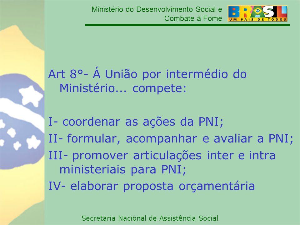 Ministério do Desenvolvimento Social e Combate à Fome Secretaria Nacional de Assistência Social Art 8°- Á União por intermédio do Ministério... compet