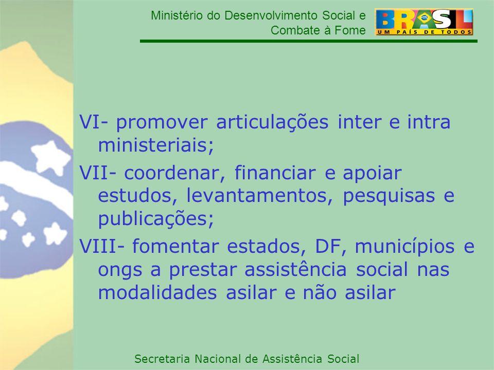 Ministério do Desenvolvimento Social e Combate à Fome Secretaria Nacional de Assistência Social VI- promover articulações inter e intra ministeriais;