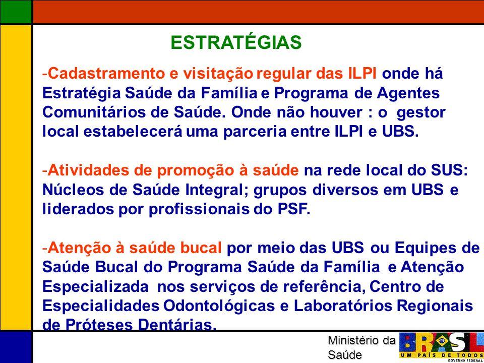 Ministério da Saúde -Cadastramento e visitação regular das ILPI onde há Estratégia Saúde da Família e Programa de Agentes Comunitários de Saúde. Onde