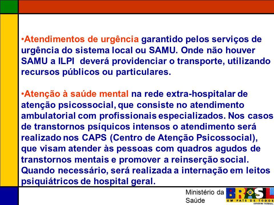 Ministério da Saúde Atendimentos de urgência garantido pelos serviços de urgência do sistema local ou SAMU. Onde não houver SAMU a ILPI deverá provide