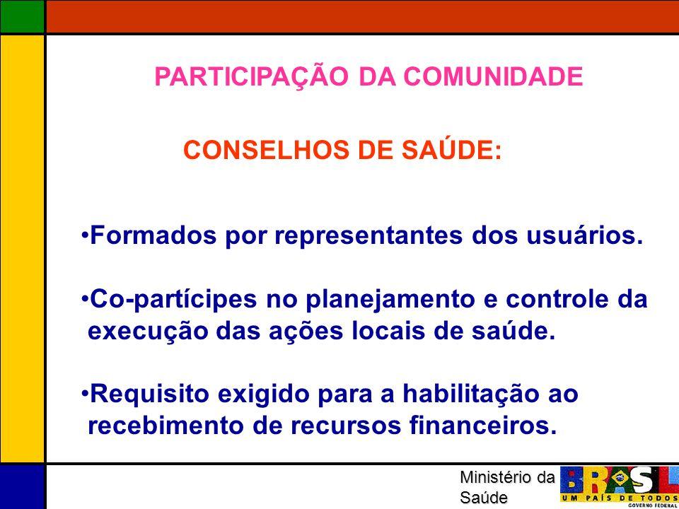 Ministério da Saúde CONSELHOS DE SAÚDE: Formados por representantes dos usuários. Co-partícipes no planejamento e controle da execução das ações locai