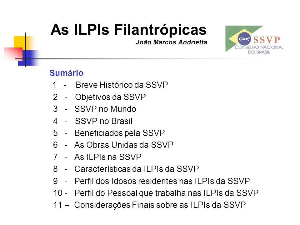 As ILPIs Filantrópicas João Marcos Andrietta Sumário 1 - Breve Histórico da SSVP 2 - Objetivos da SSVP 3 - SSVP no Mundo 4 - SSVP no Brasil 5 - Benefi