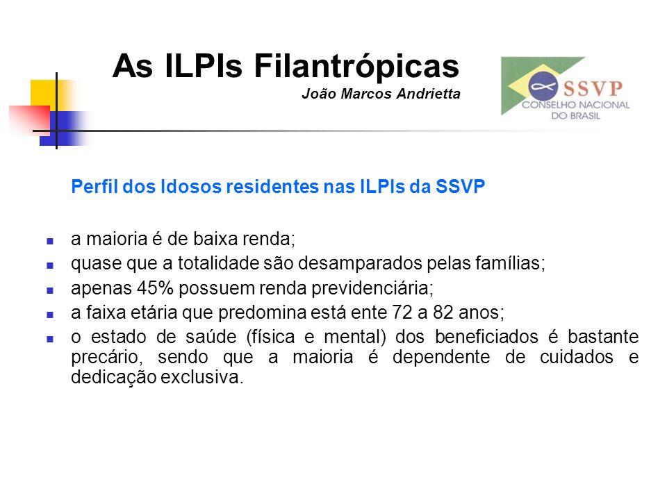 As ILPIs Filantrópicas João Marcos Andrietta Perfil dos Idosos residentes nas ILPIs da SSVP a maioria é de baixa renda; quase que a totalidade são des