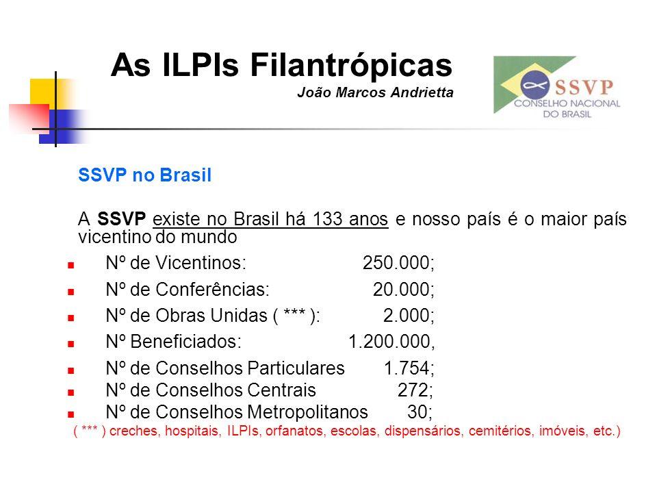 As ILPIs Filantrópicas João Marcos Andrietta SSVP no Brasil A SSVP existe no Brasil há 133 anos e nosso país é o maior país vicentino do mundo Nº de V