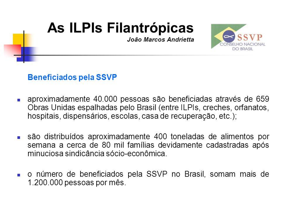 As ILPIs Filantrópicas João Marcos Andrietta Beneficiados pela SSVP aproximadamente 40.000 pessoas são beneficiadas através de 659 Obras Unidas espalh