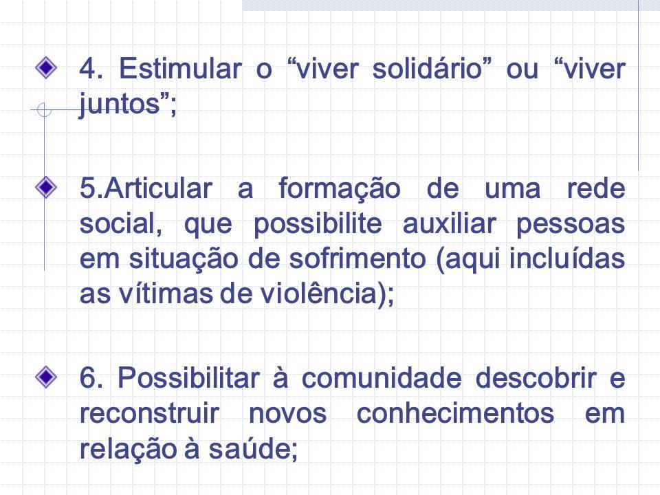 7.Implantar a prática de visitas solidárias, que propaguem a paz e a amizade na comunidade; 8.