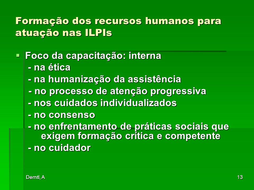 Derntl, A13 Formação dos recursos humanos para atuação nas ILPIs Foco da capacitação: interna Foco da capacitação: interna - na ética - na ética - na