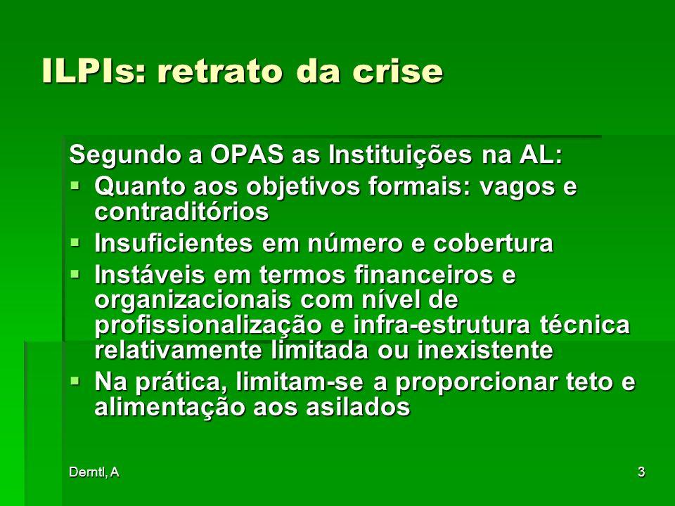 Derntl, A3 ILPIs: retrato da crise Segundo a OPAS as Instituições na AL: Quanto aos objetivos formais: vagos e contraditórios Quanto aos objetivos for
