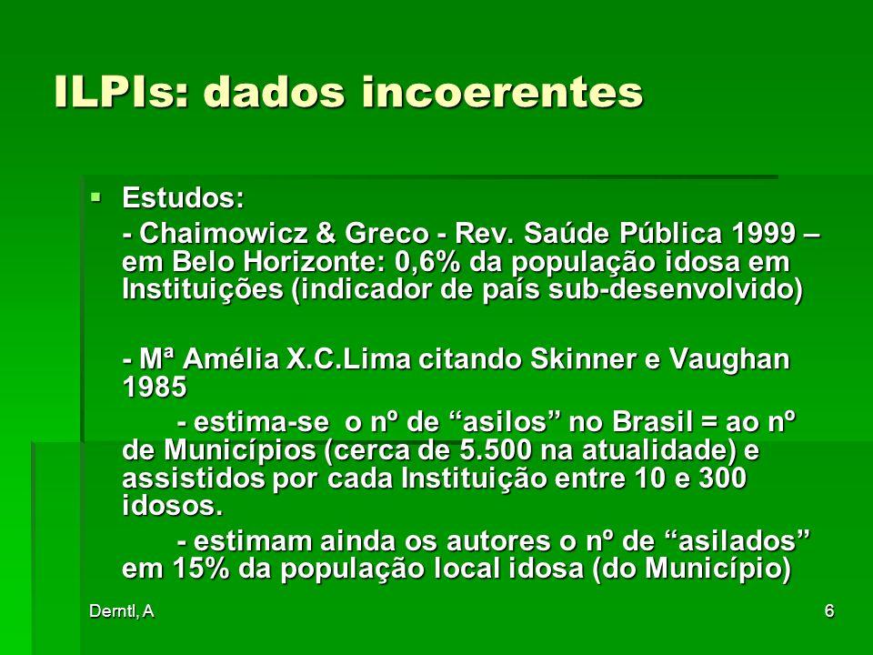 Derntl, A6 ILPIs: dados incoerentes Estudos: Estudos: - Chaimowicz & Greco - Rev. Saúde Pública 1999 – em Belo Horizonte: 0,6% da população idosa em I