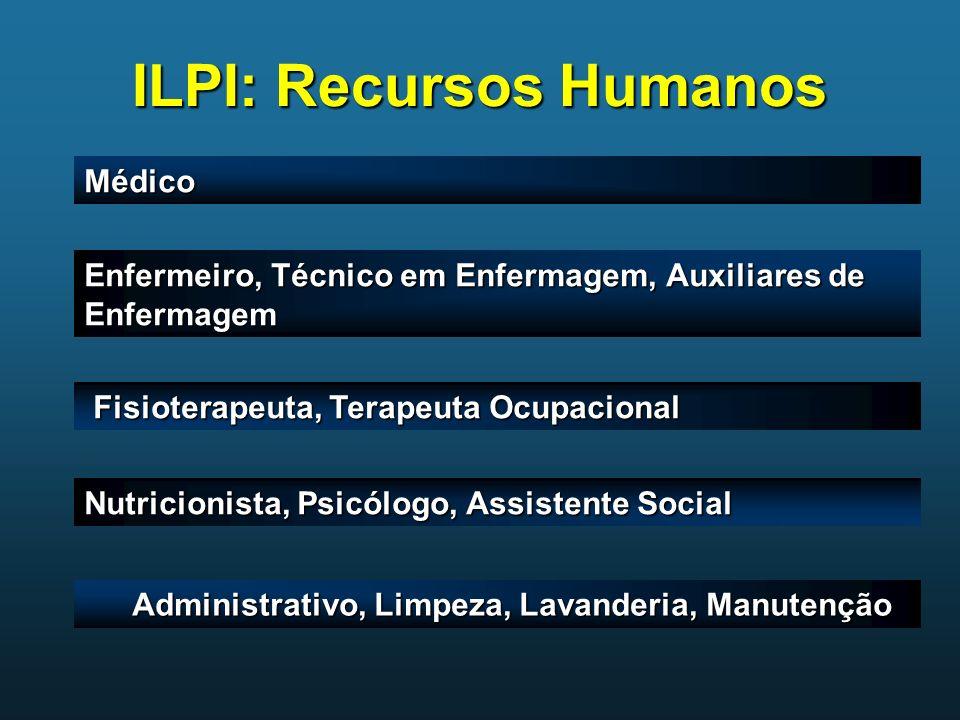 ILPI: Recursos Humanos Médico Enfermeiro, Técnico em Enfermagem, Auxiliares de Enfermagem Fisioterapeuta, Terapeuta Ocupacional Fisioterapeuta, Terape
