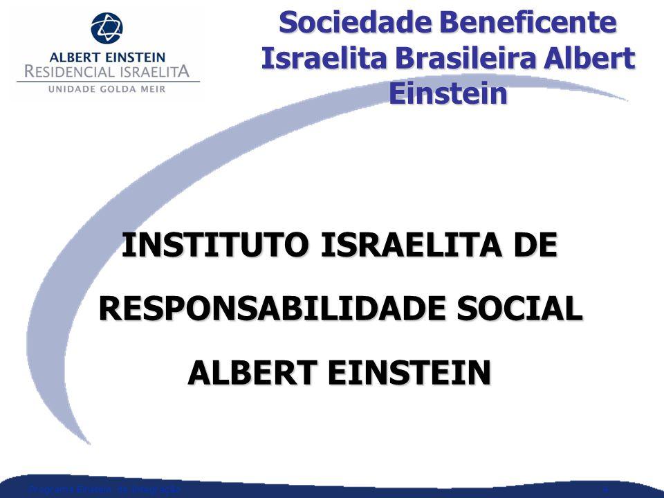 Programa Einstein de Integração4 Sociedade Beneficente Israelita Brasileira Albert Einstein INSTITUTO ISRAELITA DE RESPONSABILIDADE SOCIAL ALBERT EINSTEIN