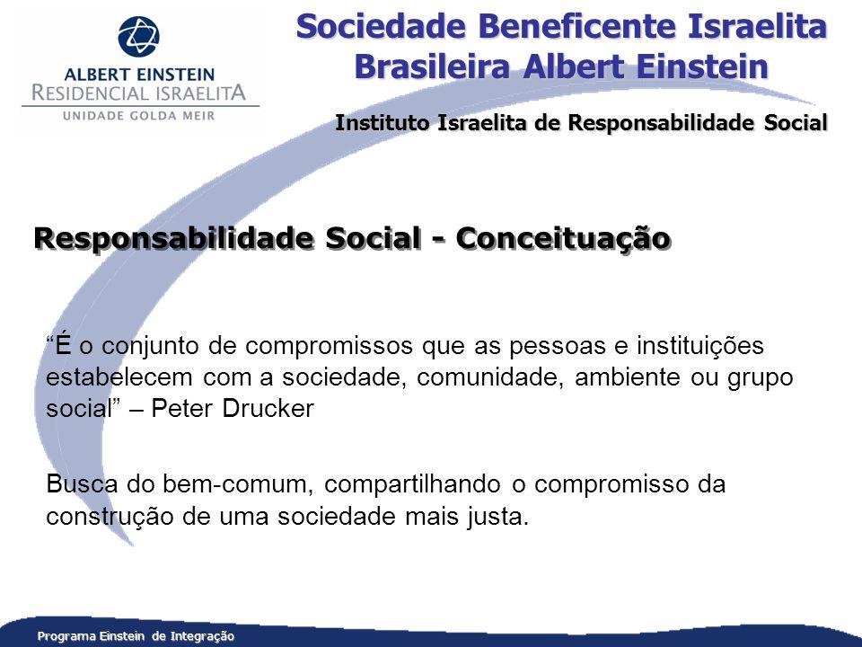 Programa Einstein de Integração É o conjunto de compromissos que as pessoas e instituições estabelecem com a sociedade, comunidade, ambiente ou grupo social – Peter Drucker Busca do bem-comum, compartilhando o compromisso da construção de uma sociedade mais justa.
