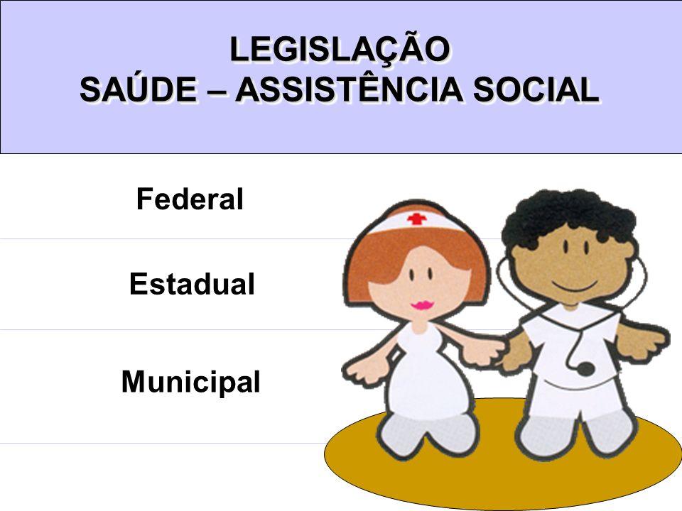 Federal Estadual Municipal LEGISLAÇÃO SAÚDE – ASSISTÊNCIA SOCIAL LEGISLAÇÃO