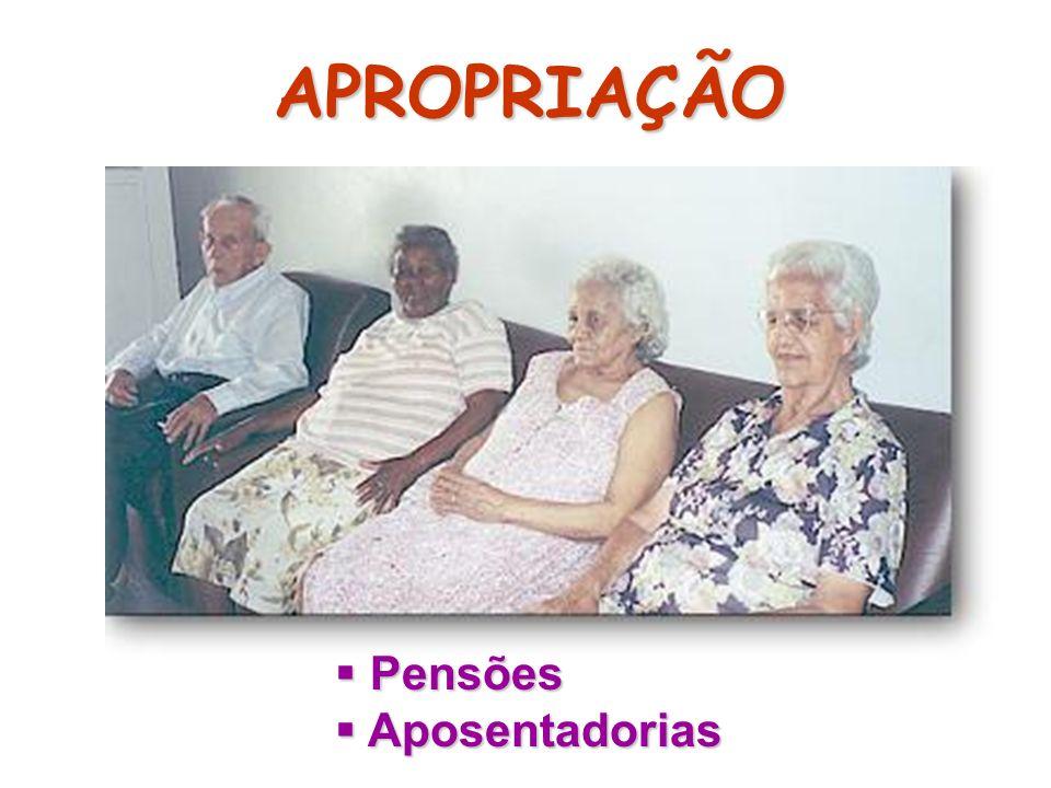 APROPRIAÇÃO Pensões Pensões Aposentadorias Aposentadorias