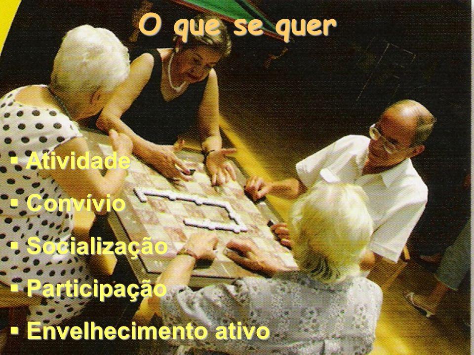 O que se quer Atividade Atividade Convívio Convívio Socialização Socialização Participação Participação Envelhecimento ativo Envelhecimento ativo