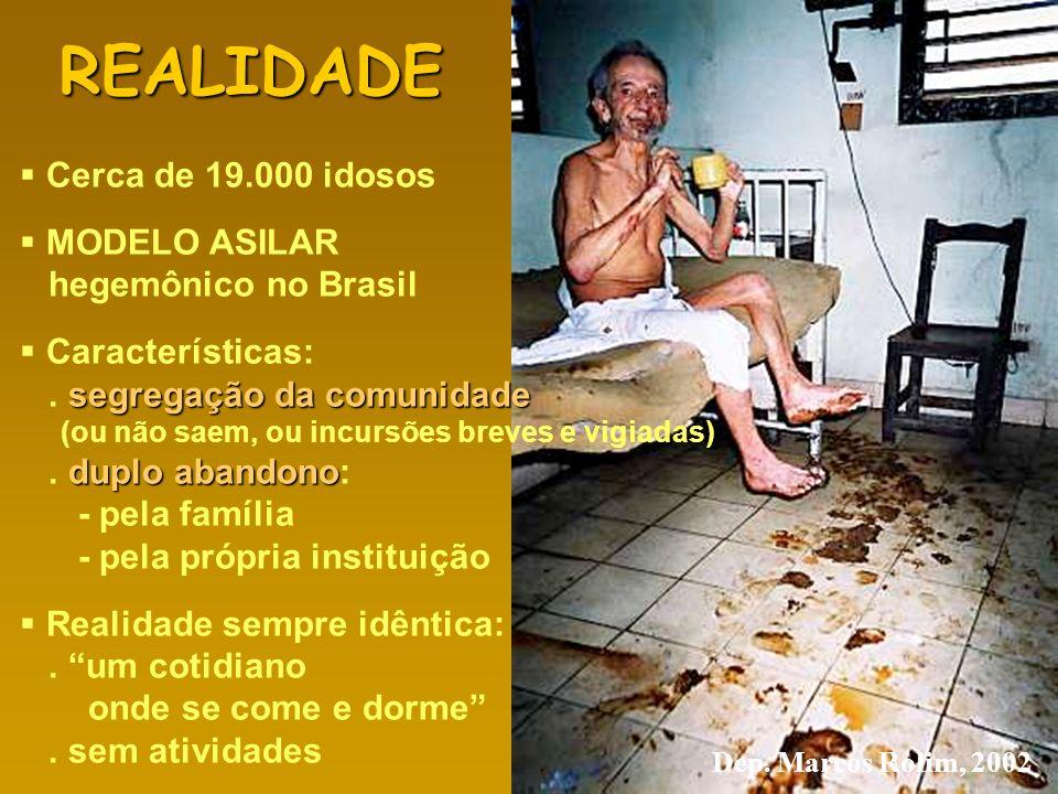 REALIDADE Cerca de 19.000 idosos MODELO ASILAR hegemônico no Brasil Características: segregação da comunidade. segregação da comunidade (ou não saem,
