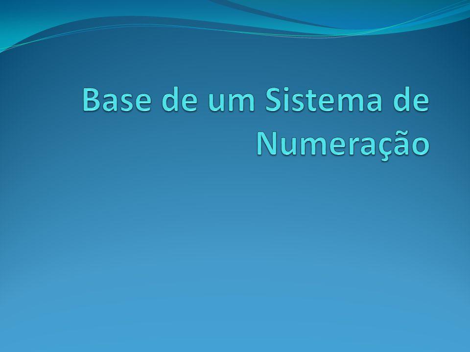 Sistemas de numeração Como se sabe, em Eletrônica e Computação, as bases mais utilizadas para sistemas de numeração são: Binária (Base 2) Octal (Base 8) Decimal (Base 10) Hexadecimal (Base 16)