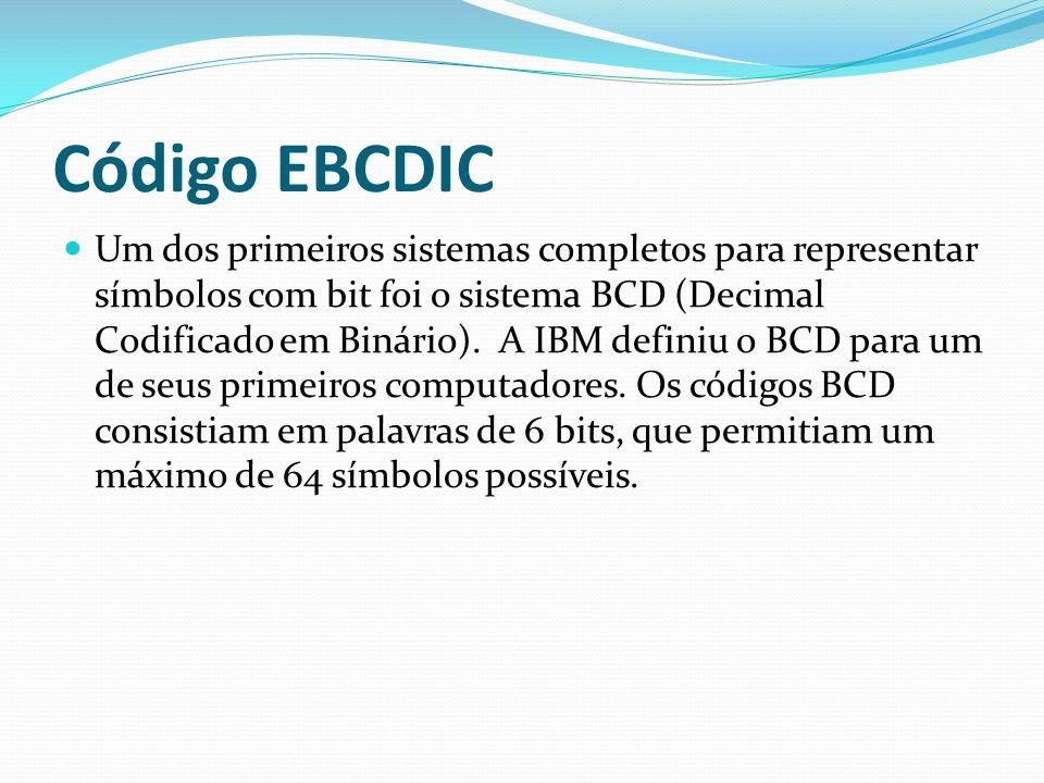 Código EBCDIC A necessidade de representar letras minúsculas, além das maiúsculas, exige 52 códigos apenas para um alfabeto completo, o que levou a IBM a desenvolver o sistema EBCDIC (Código Ampliado de Caracteres Decimais Codificados em Binário para o Intercâmbio de Dados).