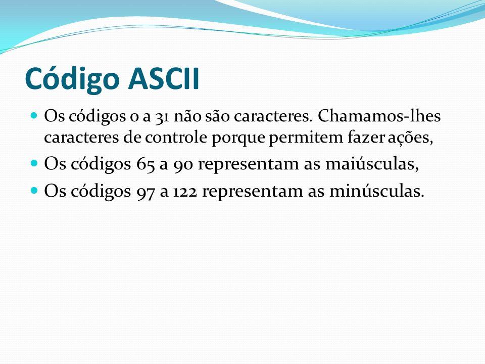 Código ASCII Os códigos 0 a 31 não são caracteres. Chamamos-lhes caracteres de controle porque permitem fazer ações, Os códigos 65 a 90 representam as