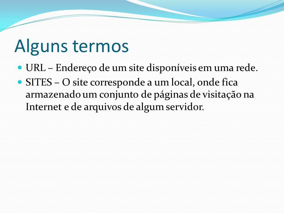 Alguns termos URL – Endereço de um site disponíveis em uma rede. SITES – O site corresponde a um local, onde fica armazenado um conjunto de páginas de