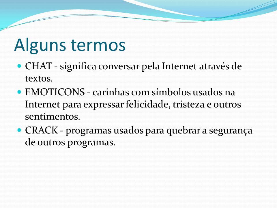 Alguns termos CHAT - significa conversar pela Internet através de textos. EMOTICONS - carinhas com símbolos usados na Internet para expressar felicida