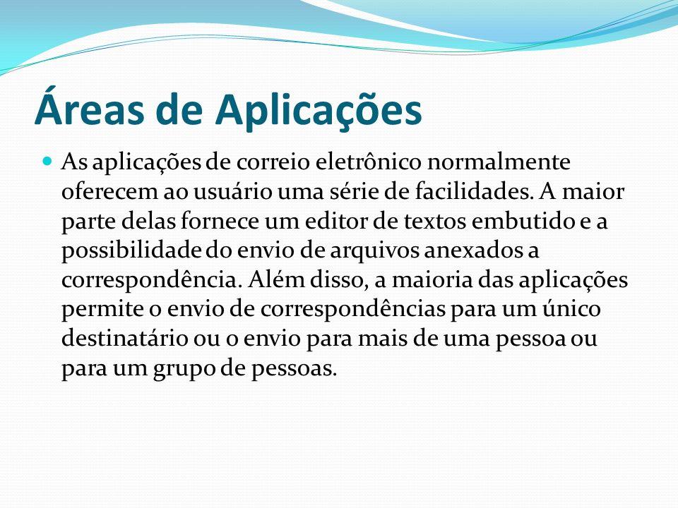 Áreas de Aplicações As aplicações de correio eletrônico normalmente oferecem ao usuário uma série de facilidades. A maior parte delas fornece um edito