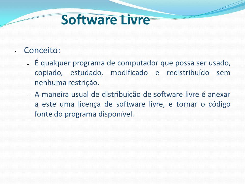 Software Livre Conceito: – É qualquer programa de computador que possa ser usado, copiado, estudado, modificado e redistribuído sem nenhuma restrição.